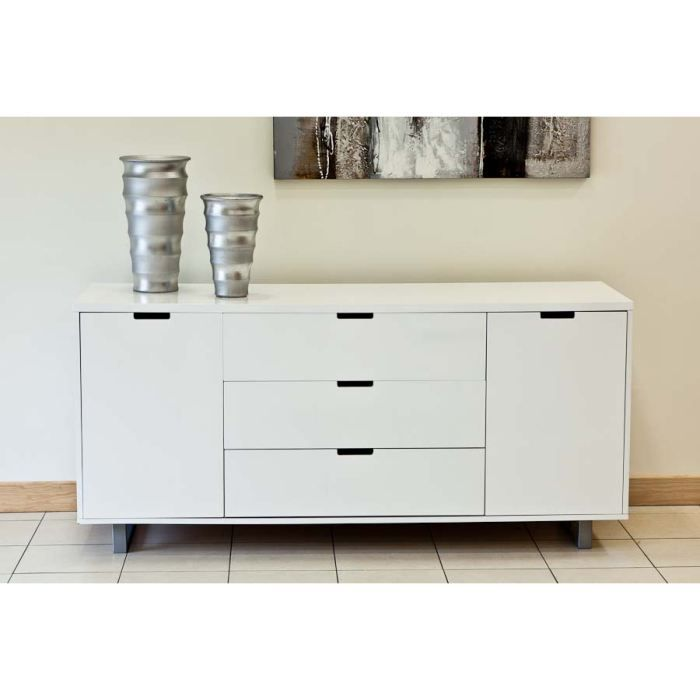 Commode buffet blanc laqu 2 portes 3 tiroirs s achat Commode blanc laque