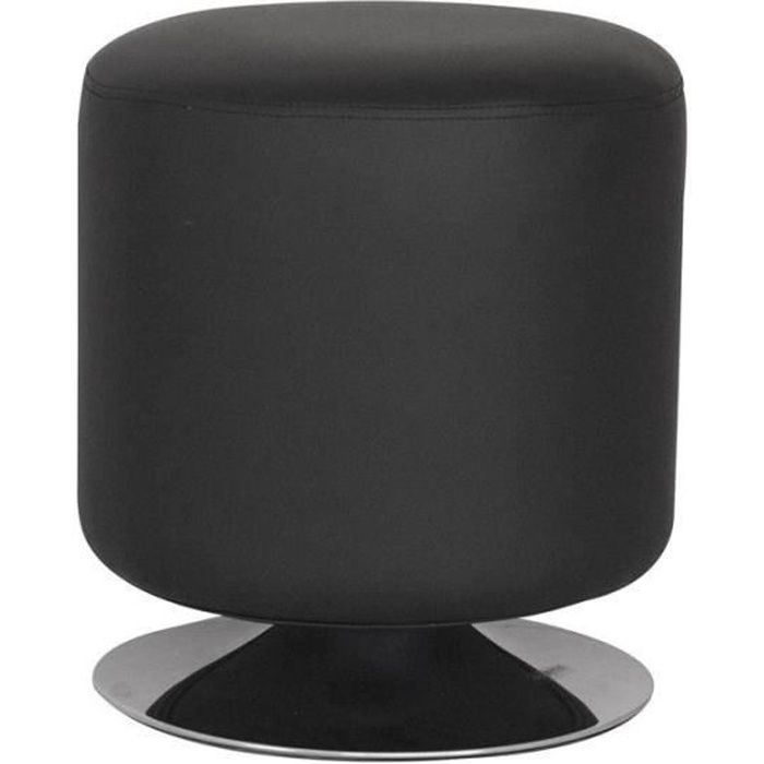 pouf repose pied bazile noir myco00068 achat vente pouf poire cdiscount. Black Bedroom Furniture Sets. Home Design Ideas