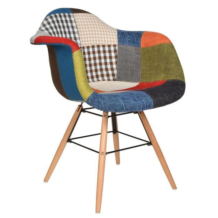 Chaise design patchwork p te color e de bois pour salle for Chaise coloree salle a manger