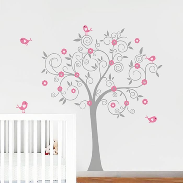 oiseaux fleurs art vinyl arbre sticker adh sifs muraux. Black Bedroom Furniture Sets. Home Design Ideas