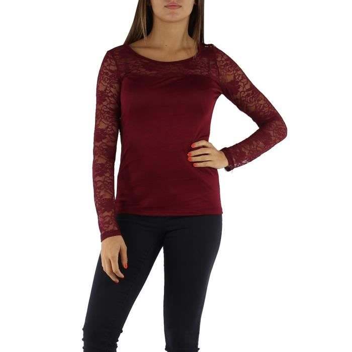 top t shirt fantaisie dentelle manches longues femme t u rouge bordeaux uni viscose rouge rouge. Black Bedroom Furniture Sets. Home Design Ideas