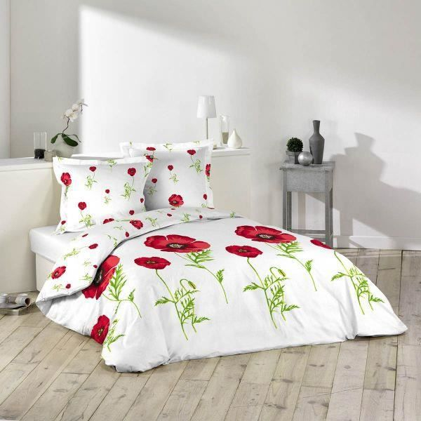 housse de couette 220x240 cm microfibre coquelicot 2 to 100 polyester achat vente parure. Black Bedroom Furniture Sets. Home Design Ideas