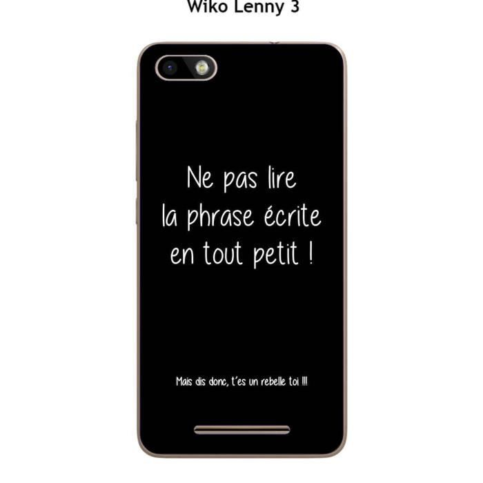 coque wiko lenny 3 design citation rebelle texte blanc fond noir achat coque bumper pas. Black Bedroom Furniture Sets. Home Design Ideas
