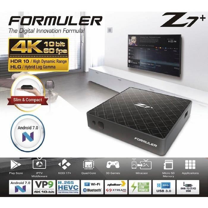 BOX MULTIMEDIA FORMULER Z7+ 4K ANDROID WIFI IPTV OTT TVBOX STREAM