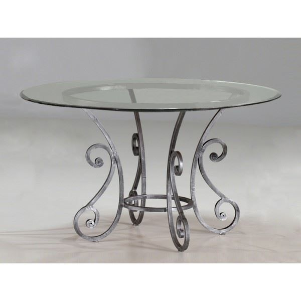 Table Ronde Fer Forg Plateau Verre Diam 110 Achat
