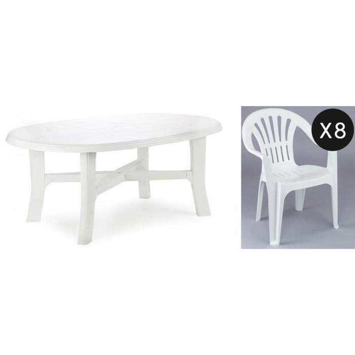 Ensemble jardin plastique blanc 8 personnes - Achat / Vente ...