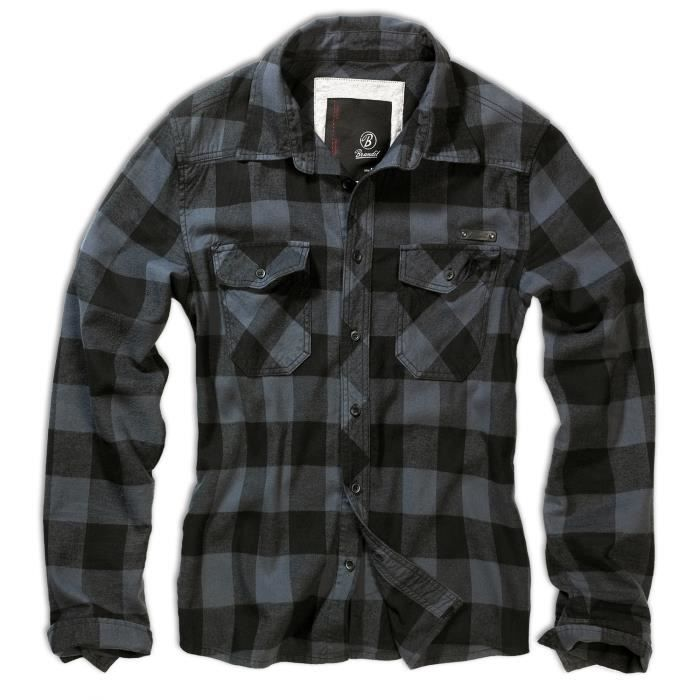 chemise brandit check shirt flanelle a carreaux noir achat vente chemise chemisette. Black Bedroom Furniture Sets. Home Design Ideas