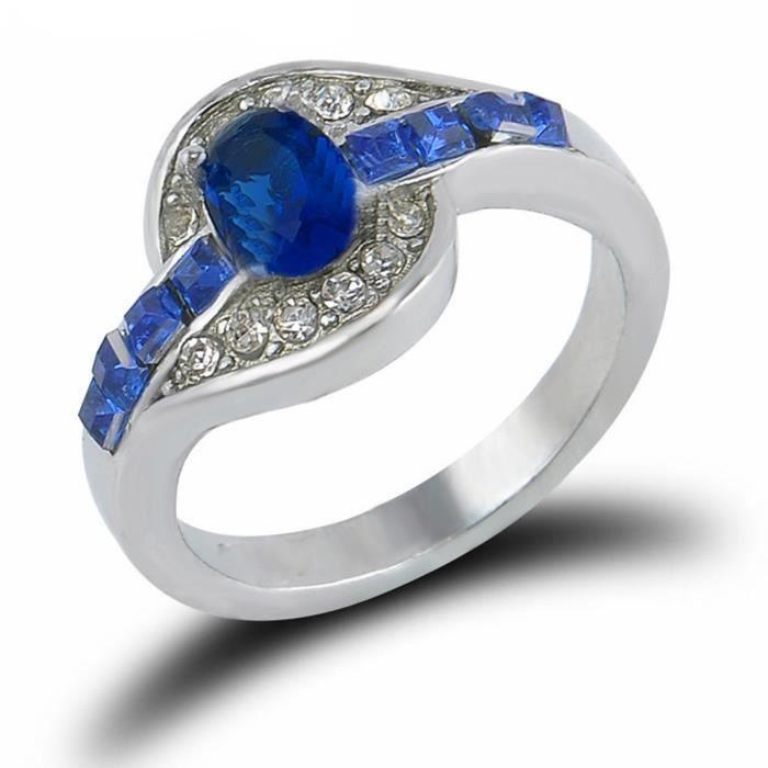 Magnifique Bague zirconium cristal bleu saphir (ar