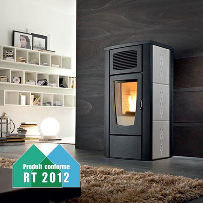 poele a pellets margherita air gris achat vente po le insert foyer poele a pellets. Black Bedroom Furniture Sets. Home Design Ideas