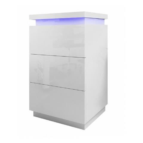Commode a led blanc laque 3 tiroirs cameleon achat Commode blanc laque