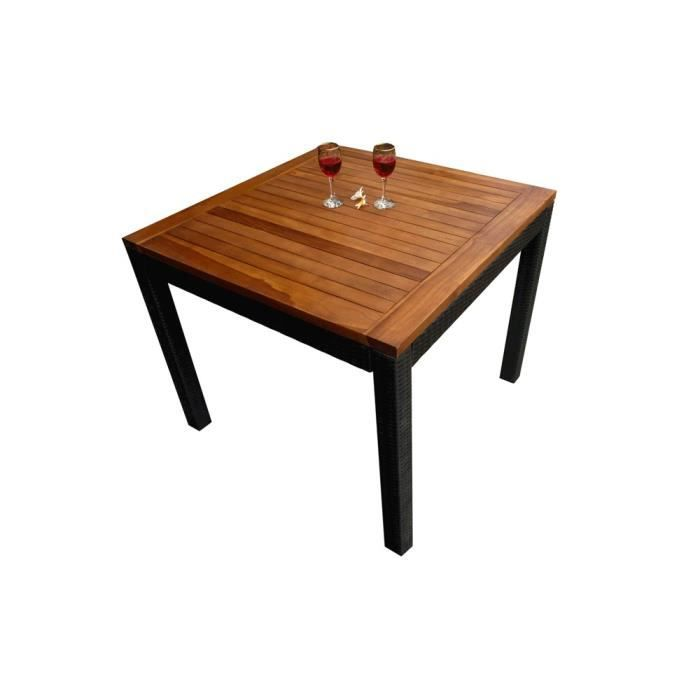 table de jardin carr e en teck et r sine poly rotin 90x90. Black Bedroom Furniture Sets. Home Design Ideas