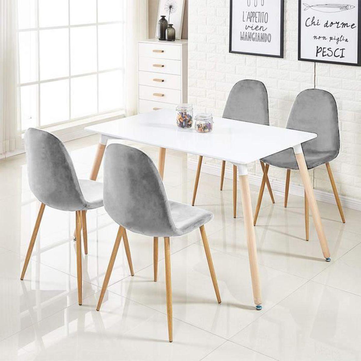 Salon Table À Manger 5pcs: 1 table blanc + 4 chaises velours gris clair, pour