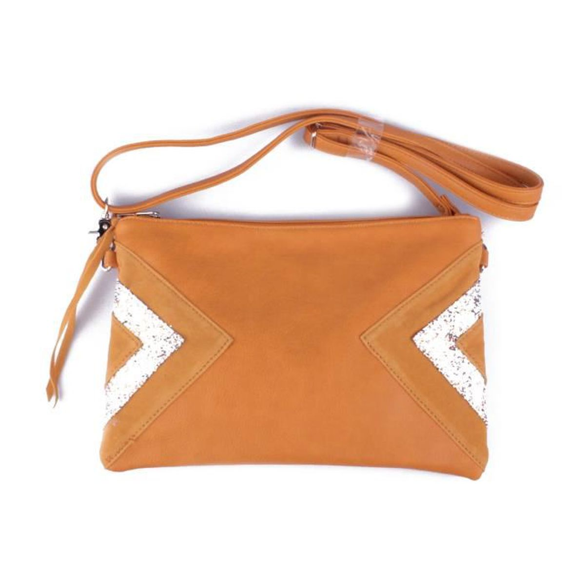 21390564dc Sac à main pochette jaune moutarde triangles daim et paillettes ...