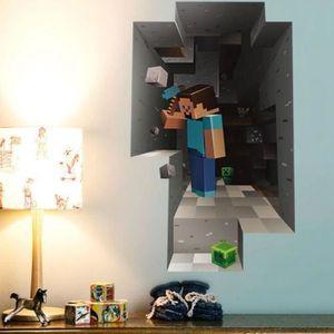 OBJET DÉCORATION MURALE 1 Autocollant Mural X Minecraft 3D Decal Décor fen