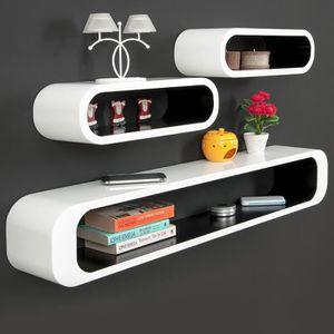 CASIER POUR MEUBLE Lot de 3 étagères Cubes -Noir-blanc – Look Rétro