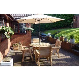 Meubles de jardin en bois Table ronde et 4 chaises à dossier ...