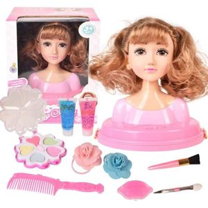 Rose AMITAS T/ête /à Coiffer Enfant Mallette de Coiffure pour Les Petits Filles Rose Trousse de Maquillage Cheveux blonds-Super Model avec Accessoires 16Pi/èces