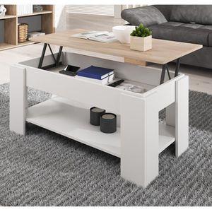 TABLE BASSE Table basse relevable Nicoleta blanc et sonoma