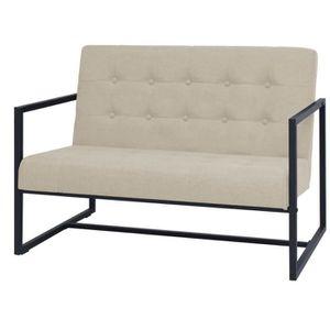 CANAPÉ - SOFA - DIVAN Canapé Sofa à 2 places avec accoudoirs Acier et ti