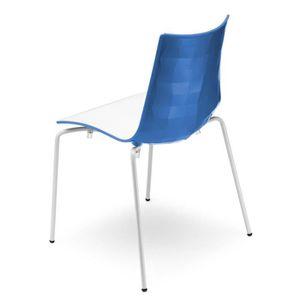 CHAISE Chaise design blanche et bleue avec pieds blanc…