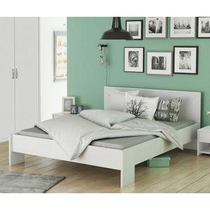 STRUCTURE DE LIT Lit en bois blanc perle LT126 160x200