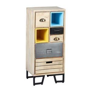 CHIFFONNIER - SEMAINIER Chiffonnier 5 tiroirs Bois-Métal - SUPPLY - L 45 x