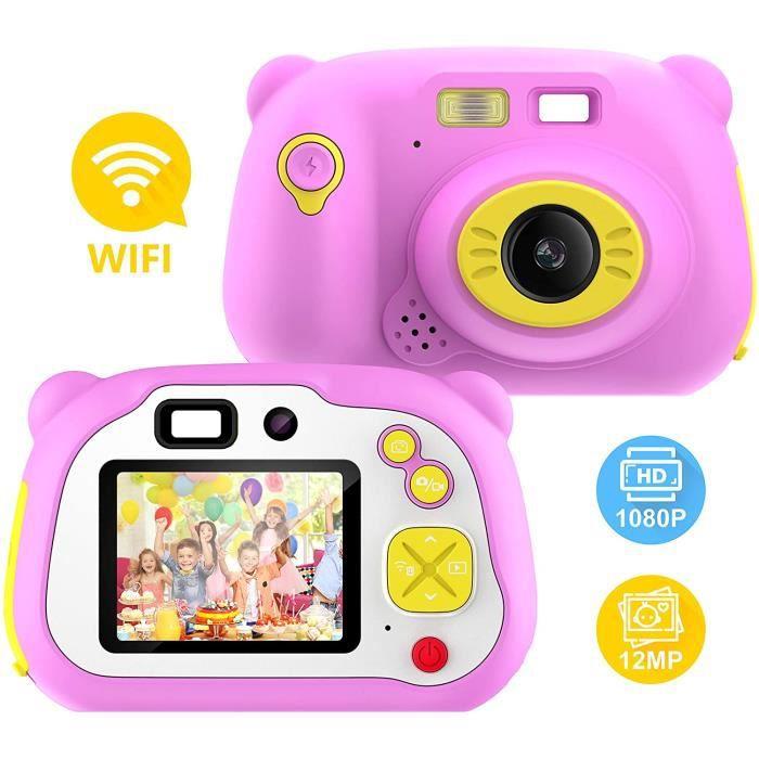 Appareil Photo pour Enfant pour Filles et garçons, WiFi partageant Un caméscope numérique HD 1080p avec des appareils Photo à Doubl