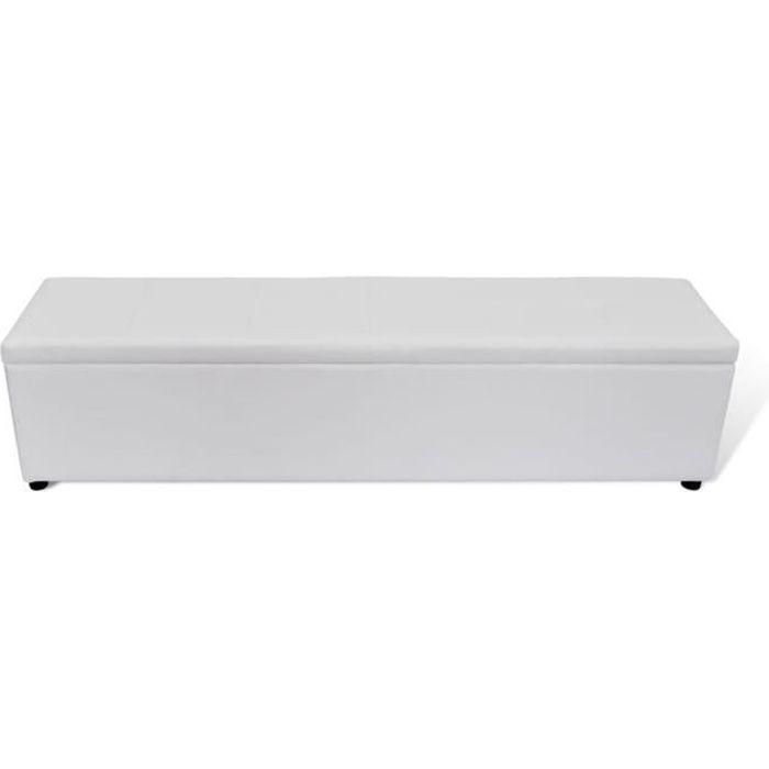Banc banquette coffre de rangement blanc taille large, coffre siège de rangement boîte ,178 x 44 x 44 cm