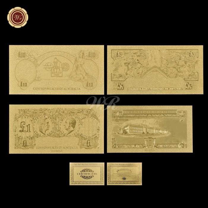 Ensemble de billets de banque de qualité en feuille d'or, vieux livre australienne, 1-2 1 5 10, cadeaux d'affaires [A96AB99]
