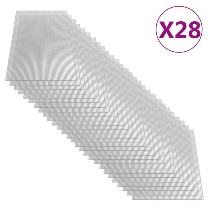 Lot de 28 Feuilles de polycarbonate 4 mm 121x60 cm Super *368683