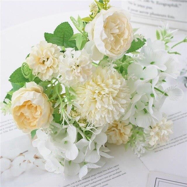 Fleurs artificielles blanches tulipes, 5 pièces, Bouquet de fausses fleurs en Latex tulipes, décoration de jardin de mar ES13773