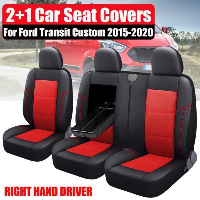 3x Housses de siège de Voiture Pour Ford Transit Custom 2015-2020 RHD Noir+Rouge