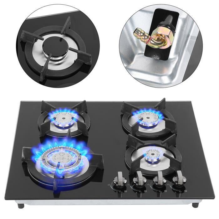 Fdit Cuisinière à gaz à 4 brûleurs Ménage 4 brûleurs cuisinière à gaz liquéfié cuisinière cuisine accessoire de cuisson