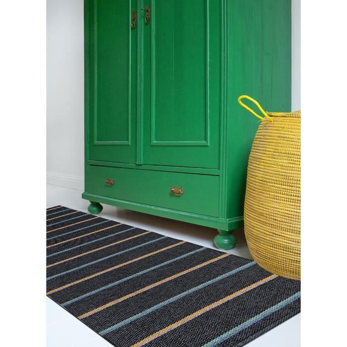 tapis de couloir kilim JOKK noir 70x200, par BRITA SWEDEN, Tapis moderne 70 x 200 cm Noir