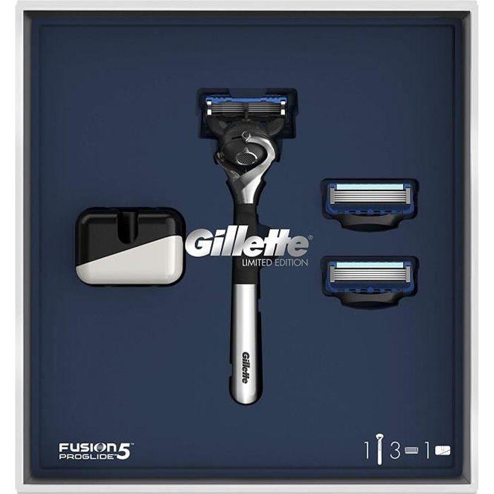 Gillette Fusion5 ProGlide Coffret Cadeau + 2 Recharges Lames + Support Rasoir