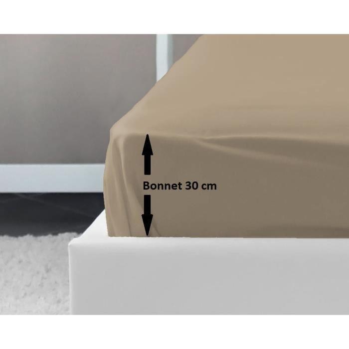 LOVELY HOME Drap Housse 100% coton 160x200x30 cm beige
