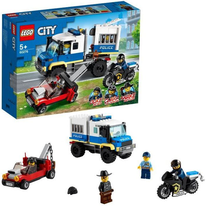 LEGO® City 60276 Le transport des prisonniers, Jeu d'action avec dépanneuse, moto et figurines, kit d'extension du poste de police