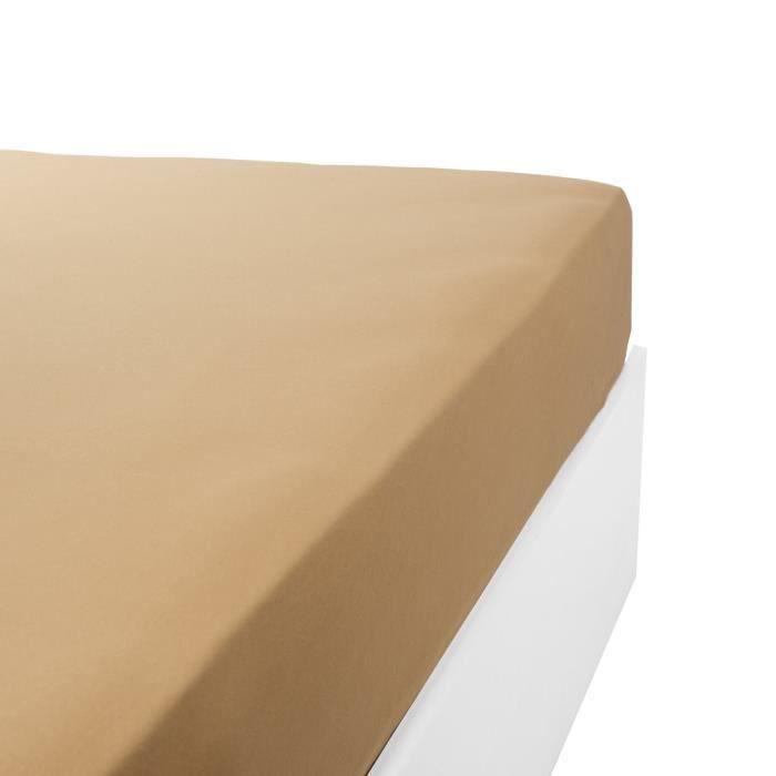 LINANDELLE - Drap housse coton jersey extensible DOUCEUR - Caramel - 140x200 cm