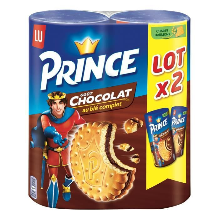 LU PRINCE Lot de 2 Biscuits fourrés parfum chocolat - 300 g