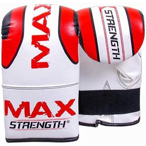 Max Strength Pro Bag Mitts Gants de boxe MMA UFC Muay Thai Training Rouge Blanc Grappling Punch