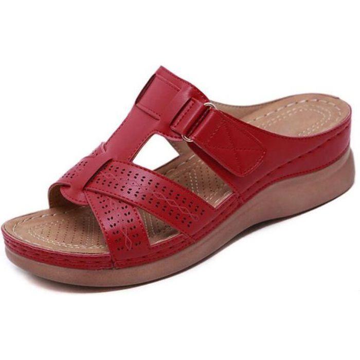 Sandales orthopédiques à bout ouvert pour femmes Rouge