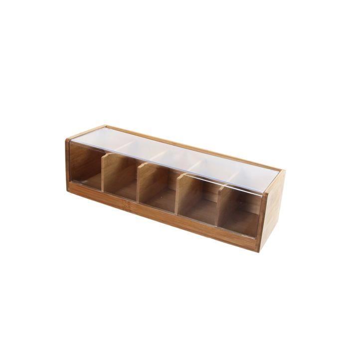 Boîte à thé en bambou 5 compartiments