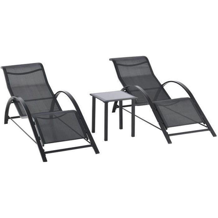 Lot de 2 bains de soleil design contemporain table basse plateau verre trempé métal époxy textilène noir