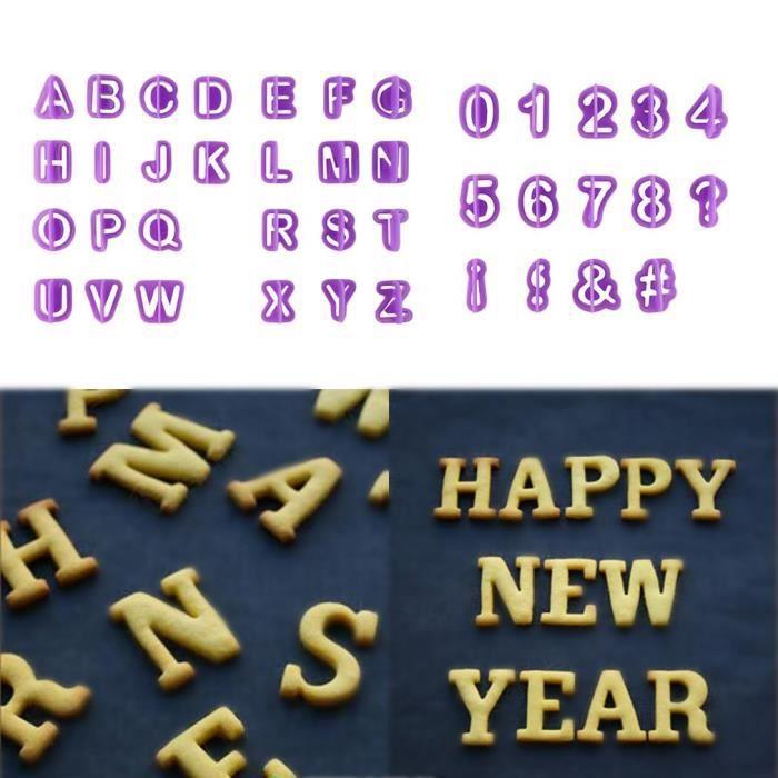 Lot de 40 Moules à Pâtisserie en Plastique Forme Alphabets Chiffres Symboles Ustensile pour Décoration de Gâteau Biscuit