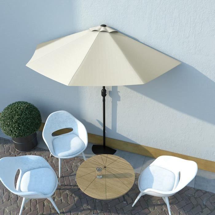 Magnifique-Parasol de Jardin Terrasse Imperméable de balcon avec mat en aluminium Sable 270x135 cm Demi