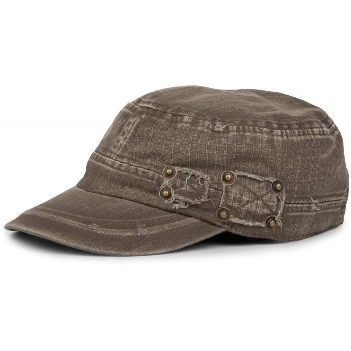 casquette militaire dans lavé, look usé, cru, réglable, unisexe 04023011