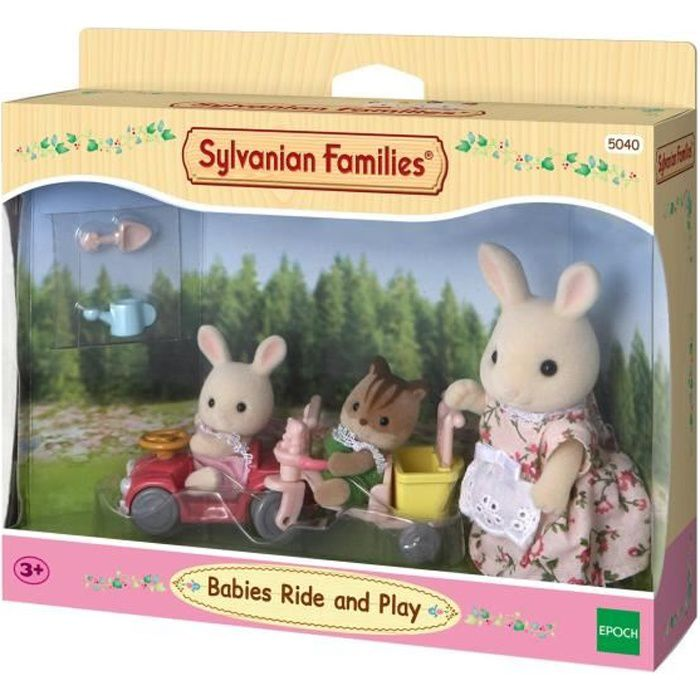 Sylvanian Families Babies Ride and Play 5040 Tricycle & Mini Voiture Bébés, Multicolore, Norme