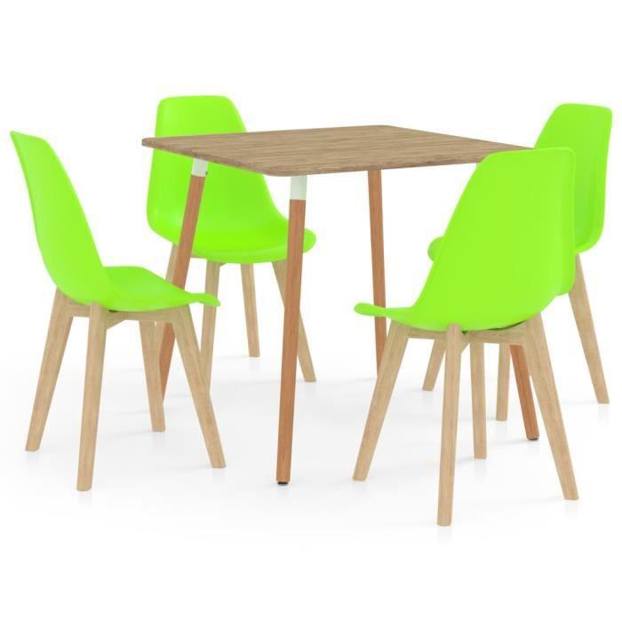 PAL Ensemble Meubles de salle à manger 5 pcs 80 x 80 x 75 cm métal, MDF avec PVC, bois de hêtre Vert Palm rose1