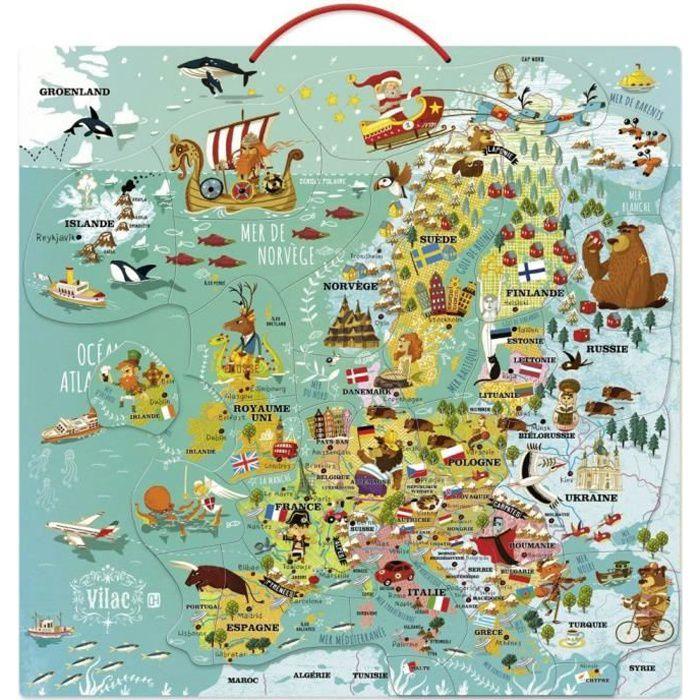 Carte d'Europe magnétique aille Unique Coloris Unique