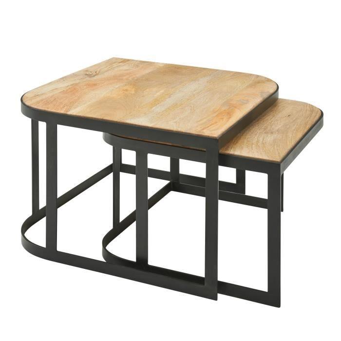 WOHNLING table basse WOHNLING Table de salon en bois massif 2 pièces tables gigognes marron clair
